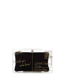 Charlotte Olympia Pandora Wish You Were Here Box Clutch, Clear