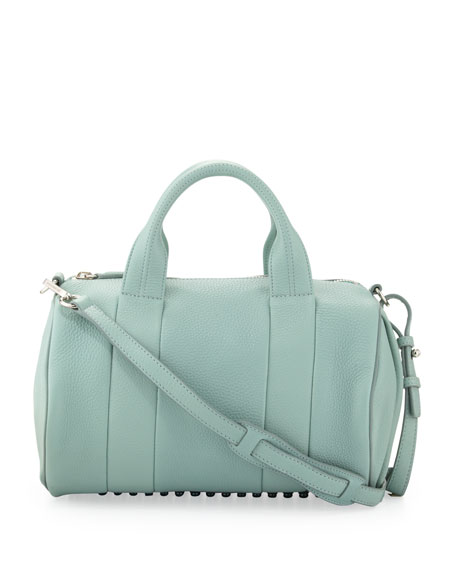 Rocco Stud-Bottom Satchel Bag, Peppermint