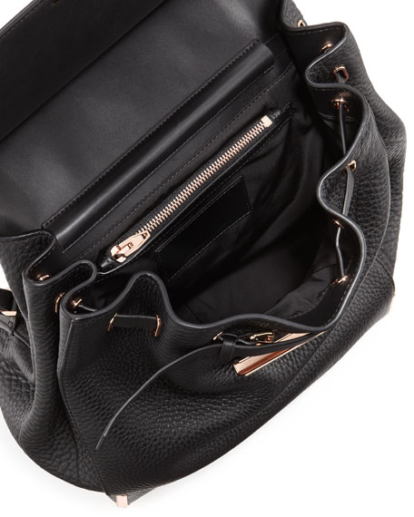 Prisma Skeletal Leather Backpack, Black