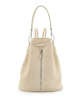 Elizabeth and James Cynnie Leather Drawstring Backpack, Ivory
