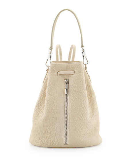 Cynnie Leather Drawstring Backpack, Ivory