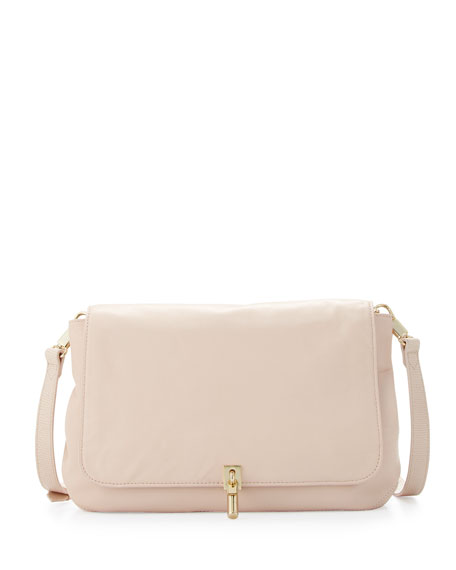 Cynie Lambskin Medium Crossbody Bag, Champagne