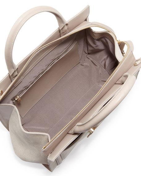 Daphne Suede Crossbody Tote Bag, Beige