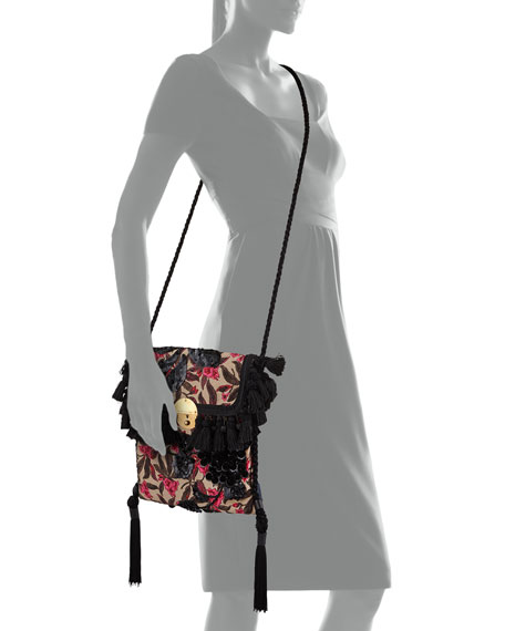 Floral Embroidered Surfer Bag