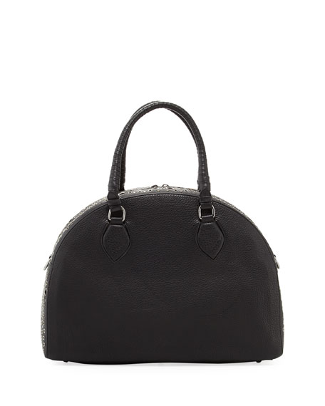 Panettone Large Eyelet Satchel Bag, Black