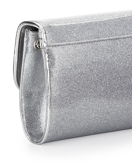 Riviera Glittered PVC Clutch Bag, Silver