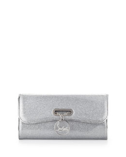 Christian Louboutin Riviera Glittered PVC Clutch Bag, Silver