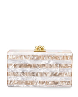 Edie Parker Jean Striped Box Clutch, Nude/White