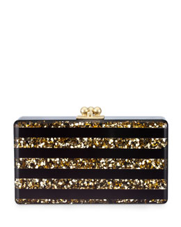 Edie Parker Jean Confetti Striped Acrylic Clutch Bag, Black/Gold