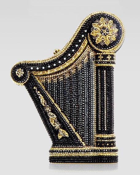 Carnegie Hall Harp Clutch Bag, Champagne/Black