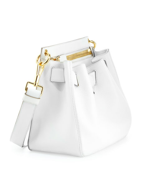 Small Lock-Front Crossbody Bag, White
