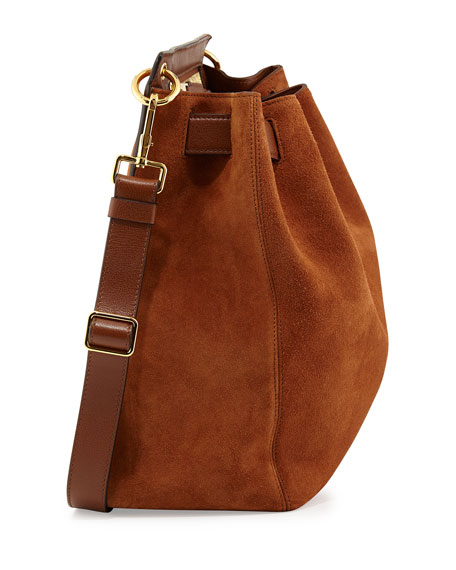 Tom Ford Lock-Front Sling Bag, Camel