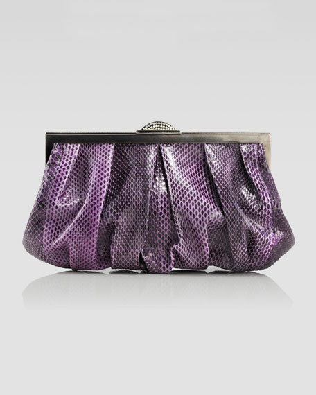 Natalie Snakeskin Soft Clutch Bag, Purple