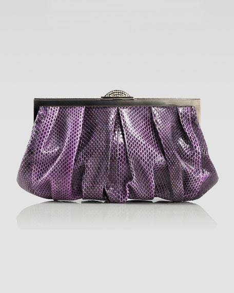 Natalie Snakeskin Soft Clutch Bag, Purple