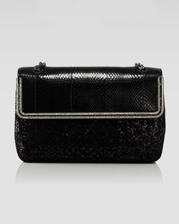 Judith Leiber Couture Zahara Snake & Sequin Flap Shoulder Bag, Black