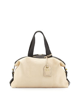 Reed Krakoff RDK Atlas Anaconda Satchel Bag, White/Black