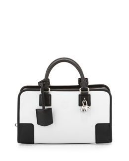 Loewe Amazona 28 Panda-Charm Satchel Bag, White/Black