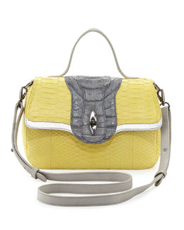 Khirma Eliazov Oxy Python & Crocodile Crossbody Bag, Yellow