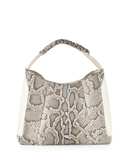 Nancy Gonzalez Python Medium & Crocodile Hobo Bag, Natural