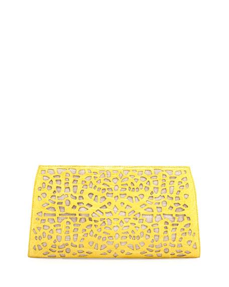 Straw Raffia Caiman Clutch, Yellow