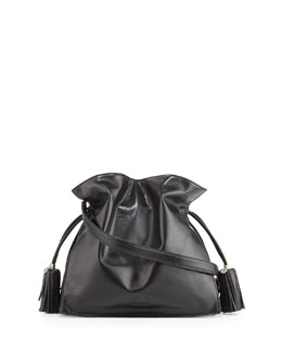 Loewe Flamenco 30 Polished Calfskin Drawstring Bag, Black