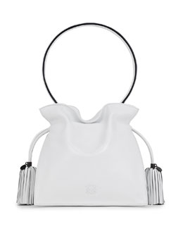Loewe Flamenco 22 Calfskin Drawstring Bag, White