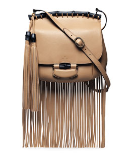 Gucci Nouveau Leather Fringe Shoulder Bag, Tan