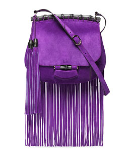 Gucci Nouveau Suede Fringe Shoulder Bag, Purple