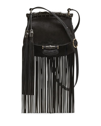 Nouveau Suede Fringe Shoulder Bag, Black