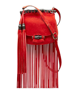 Gucci Nouveau Suede Fringe Shoulder Bag, Red