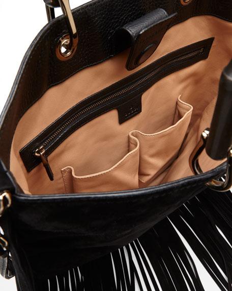 Gucci Bamboo Suede Fringe Shopper Tote Bag, Black 09e99f1cfa1