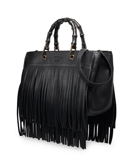 Gucci Bamboo Leather Fringe Shopper Tote Bag, Black 171bf4fa511