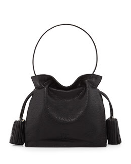 Loewe Flamenco 22 Calfskin Drawstring Bag, Black