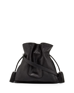 Loewe Flamenco 36 Calfskin Drawstring Bag, Black