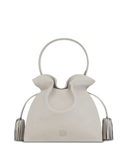 Loewe Flamenco 36 Calfskin Drawstring Bag, Gray