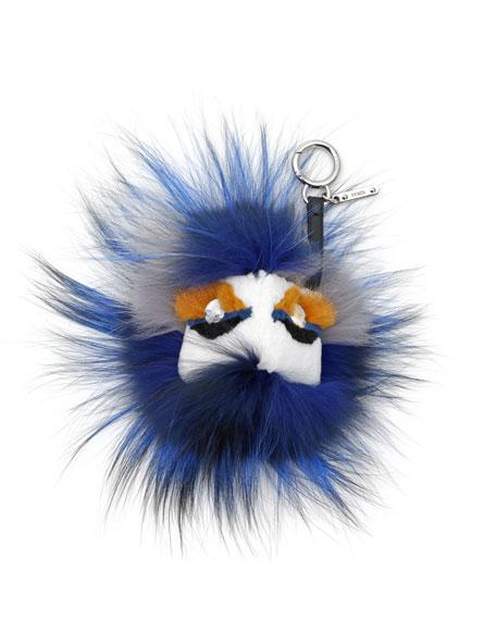 Crystal-Eyed Fur Monster Charm for Handbag