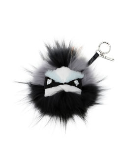 Fendi Crystal-Eyed Fur Monster Charm for Handbag
