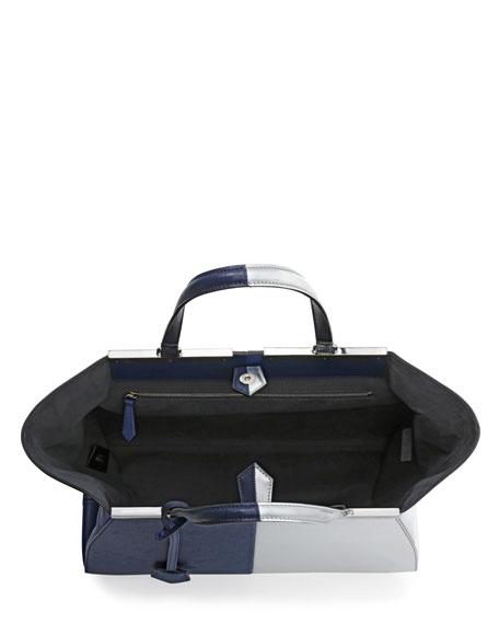 Trois-Jour Grande Leather Tote Bag, Dark Blue/Silver