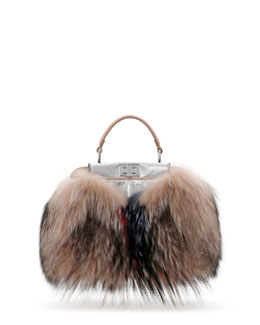 Fendi Peekaboo Mini Fur Satchel Bag, Brown Multi Color