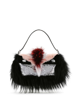 Fendi Python & Fur Monster Baguette
