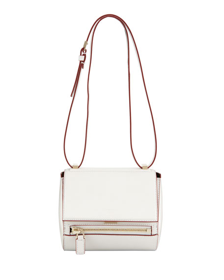 Pandora Mini Box Crossbody Bag, White/Red