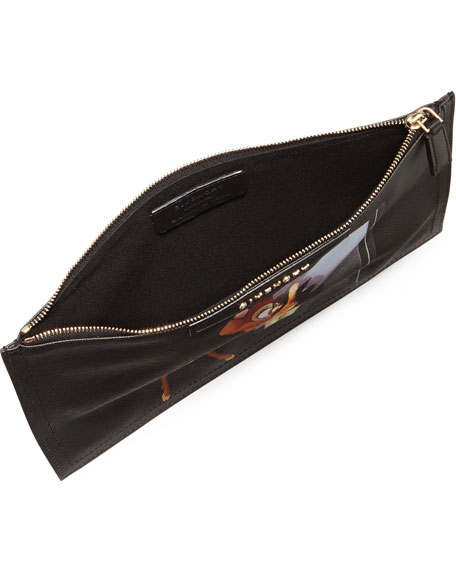 Medium Leather Zip-Pouch, Bambi Print