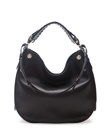 Obsedia Large Nail-Head Hobo Bag, Black
