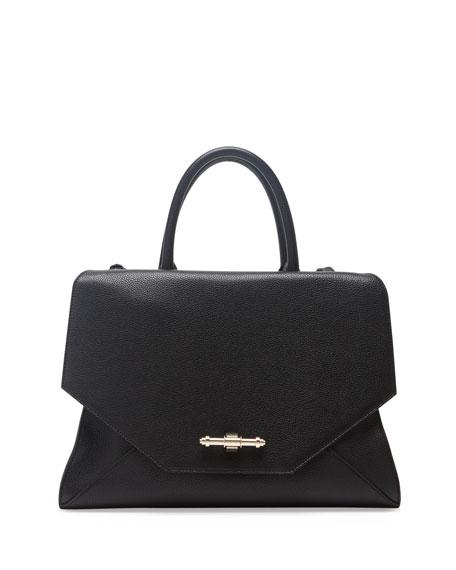 Obsedia Top-Handle Medium Calf Leather Satchel Bag, Black