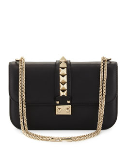 Valentino Rockstud Medium Flap Shoulder Bag, Black