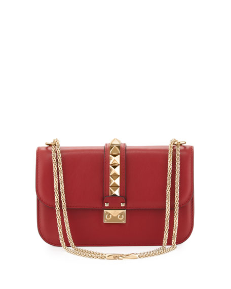 Valentino Garavani Lock Rockstud-Trim Flap Bag, Red