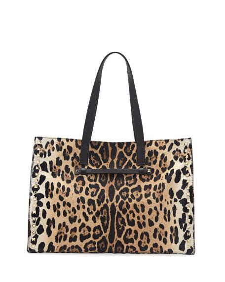 Rockstud Calf Hair Shopping Tote Bag, Leopard