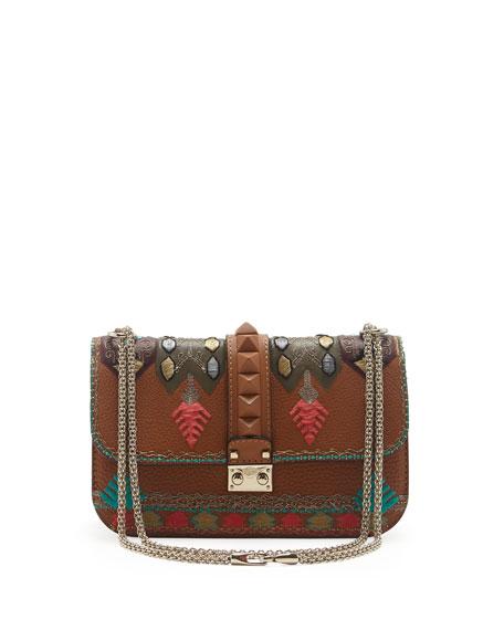 Embroidered Medium Lock Flap Bag, Tan