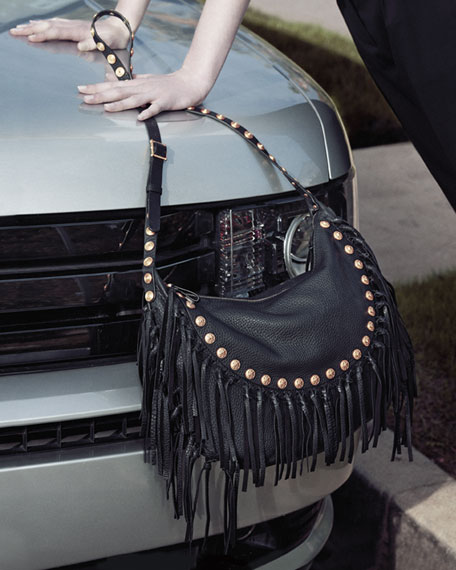 C Rockee Studded Fringe Hobo Bag Black