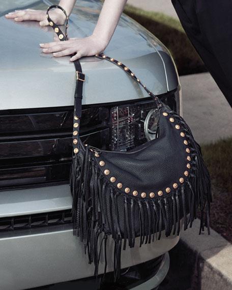 C-Rockee Studded Fringe Hobo Bag, Black